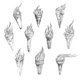 Flaming torches in retro sketch style Royalty Free Stock Images