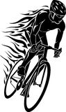 Flaming Trail of Bicycle Race Silhouette Royalty Free Stock Image