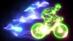 Flaming Trail of Bicycle Race Silhouette video animation