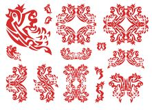 Flaming tribal bird set. The flying sparrow with a crown, sparrow frames, double bird symbols. Red on white Stock Photo