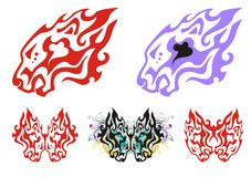 Flaming tribal lion head symbols Royalty Free Stock Images