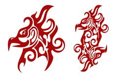 Flaming tribal Phoenix head  and double sign of the Phoenix Stock Photo