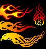 Flaming tribal tattoo. Various shape of tribal tattoo Royalty Free Stock Photos