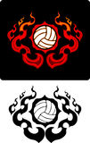 Flaming Tribal Volleyball Vector Icons Royalty Free Stock Photo