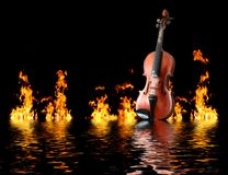 Flaming violin Stock Image