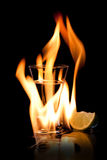 Flaming vodca Stock Images