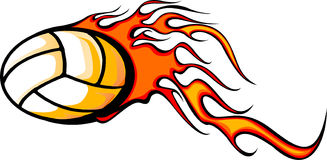 Flaming volleball Ball. Illustrated Volleyball Ball Design with Flames Stock Image