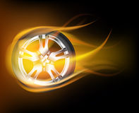 Flaming wheel Royalty Free Stock Photo