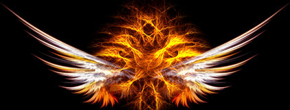 Flaming wings. Wings with a fireball inside Stock Images