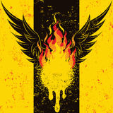 Flaming Wings. A large flame between a set of wings over a textured background Stock Photography
