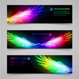 Flaming wings. Set of banners with multicolored flaming wings Stock Images