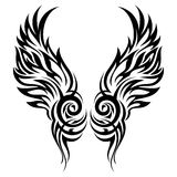 Flaming wings tribal tattoo Royalty Free Stock Photography