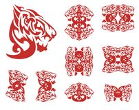 Flaming wolf symbols Stock Image