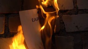 Flaming word earache. 120 fps stock footage