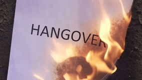 Flaming word hangover. 120 fps stock video footage