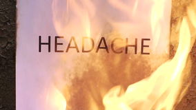 Flaming word headache. 120 fps stock footage