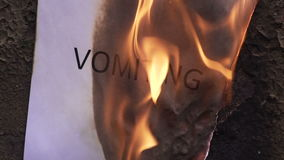 Flaming word vomiting. 120 fps stock footage