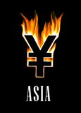Flaming yen currency symbol. On black background for crisis concept Stock Photography