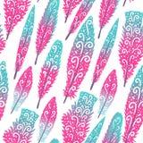 Flaminga brigth piórkowa kolorowa ręka rysujący zawijasy bezszwowy wzoru Wektorowa ilustracja odizolowywająca na bielu Zdjęcia Royalty Free