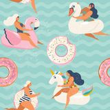 Flaminga, jednorożec, łabędź i cukierki pączka nadmuchiwany pływacki basen, unosi się Wektorowego bezszwowego wzór royalty ilustracja