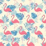 Flaminga ptak i Tropikalny kwiatu tło - Retro bezszwowy wzór fotografia royalty free