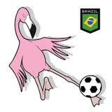 Flaminga ptasi bawić się futbol ilustracji