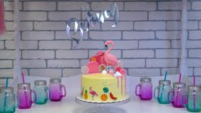 Flaminga tort przy Hawajskim przyj?ciem zdjęcie wideo