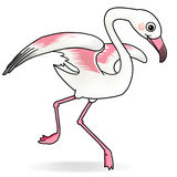 Flamingo. Cartoon action icon of a flamingo running Stock Photo