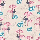 Flamingo. Stylized and colorful vector seamless pattern with flamingo Stock Photo