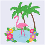 Flamingo. Illustration of a flamingo in a pond surrounded by beautiful flowers Stock Image