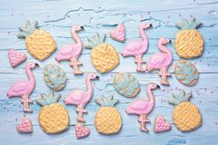 Flamingo ananas cookies. For party Royalty Free Stock Photos