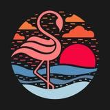 Flamingo auf dem Kreisartvektor des Strandes und der Sonne abstrakten entwerfen Stock Abbildung