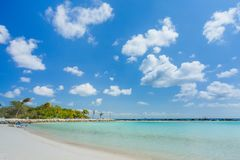Flamingo beach at Aruba island. Flamingo beach at Aruba. Renaissance Aruba Private Island Royalty Free Stock Photo