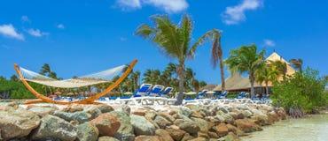 Flamingo beach at Aruba island Stock Image