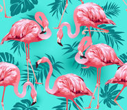 Free Flamingo Bird And Tropical Flowers Background Stock Photography - 88097362