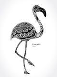 Flamingo bird with ethnic ornaments Stock Photos