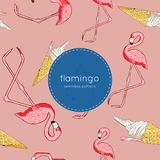 Flamingo Bird and ice-cream Seamless pattern vector Stock Image