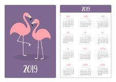 Flamingo bird love. Simple pocket calendar layout 2019 new year. Week starts Sunday. Vertical orientation. Cartoon kawaii funny. Baby character. Flat design stock illustration