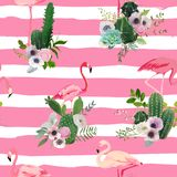 Flamingo Bird and Tropical Cactus Flowers Background. Retro Seamless Pattern. In vector Stock Photos