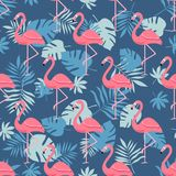 Flamingo Bird and Tropical Flowers Background - Retro seamless pattern royalty free illustration