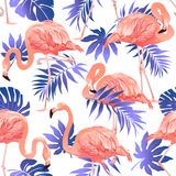 Flamingo Bird and Tropical Flowers Background Seamless pattern stock illustration