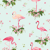 Flamingo Bird and Tropical Orchid Flowers Background. Retro Seamless Pattern Royalty Free Stock Images