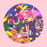 Flamingo bird vector illustration in a circle. Stock Illustration