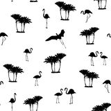 Flamingo birds tropical palm trees outline pattern Royalty Free Stock Images