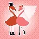 Flamingo birds wedding invitation stock illustration