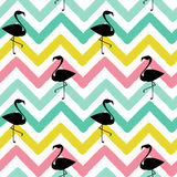 Flamingo black silhouette on abstract colorful chevron pattern seamless background illustration Stock Photo
