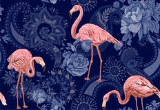 Flamingo on a blue background, jungle. Seamless pattern with flamingos and tropical plants. Vector clipart. Colorful. Flamingo on a blue background, jungle vector illustration