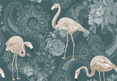 Flamingo on a blue background, jungle. Seamless pattern with flamingos and tropical plants. Vector clipart. Colorful. Flamingo on a blue background, jungle stock illustration