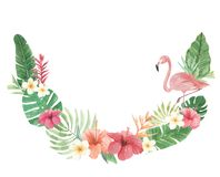 Flamingo-Bogen-Aquarell-Blumenblumen-Blätter Plumeria-tropischer Hibiscus stock abbildung