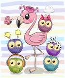 Flamingo bonito dos desenhos animados e cinco corujas ilustração do vetor